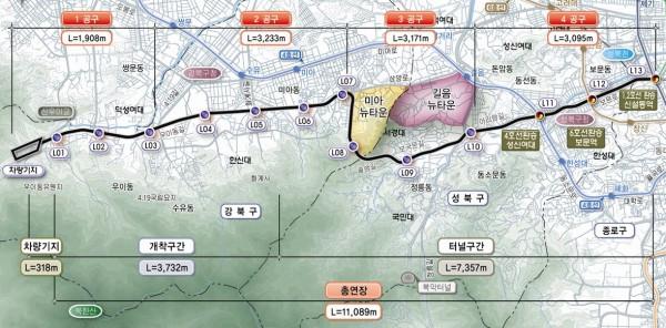 우이 경전철 노선도  (출처: 우이신설경전철(주) 홈페이지)