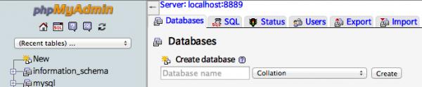 MAMP phpMyAdmin에서 데이터베이스 생성하기